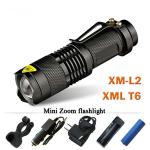 XM L2 Mini Led waterproof Flashlight 3800 telescoping Lumens lanterna Torch Use 18650 rechargeable battery Tactical
