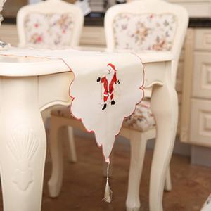Halloween Weihnachten Stickerei Weihnachts Tabelle Satin Tischdecke Handwerk Platzdeckchen Red Table Flag Cloth Abdeckungen Navidad Weihnachtsdekoration