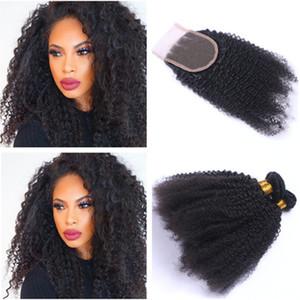 아프리카 머리카락 곱슬 머리 레이스 클로저 4 x 4 인간의 머리카락 3 번들 버진 페루 킨키 곱슬 머리카락 인간의 머리카락과 폐쇄 3 부분