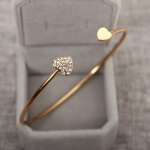 Love full diamond bracelet women's gold-plated open-ended Zircon Bracelet wholesale cross-border simple jewelry stall hot products