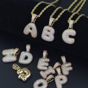26 letras A B C D E F Letras de burbujas alfabeto Real Helado Micropave Zircon Hombres Bling bling Cobre con circón Colgante Collar Joyas