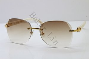 2020 New Rimless 3524012 White Buffalo Horn Limited edition Sunglasses Free shipping Unisex in Gold Thickness of 3.5 Lens