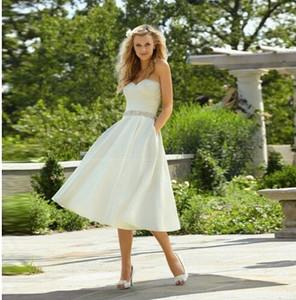 Crystal Sash Ribbon 2018 En stock Foto real Barato Elegante Una línea Vestido de novia Novia