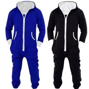 Adulti Unesies Pigiama Uomo Donna One Piece Pigiama in cotone Sleepwear Onesies Tutina nera / blu