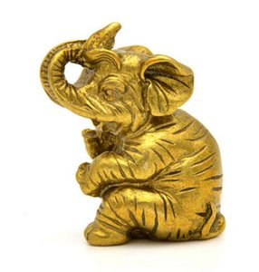 6CM Chinois En Bronze Bronze FengShui Auspicious Animal Elephant Statue Sculpture
