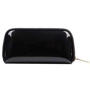 2020 fashion black small waterproof zip hand cosmetic make up bags luxury pvc glitter mini toiletry makeup pouch with zipper for cosmetics