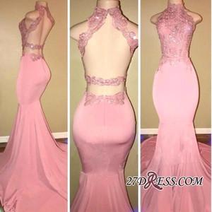 Nuevo cuello alto rosa sirena Vestidos de baile de encaje 2020 Sexy Volver hueco sin mangas Apliques vestidos de noche desgaste del partido Vestidos