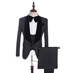 Heißer Verkauf Groomsmen Schal Schwarz Revers Bräutigam Smoking One Button Männer Anzüge Hochzeit / Prom Trauzeuge Blazer (Jacke + Pants + Weste + Tie) N 01