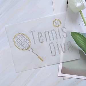 Günstiger Preis Ich liebe Tennis Eisen auf Strass Transfer Hot Fix Applique für Kleidungsstücke