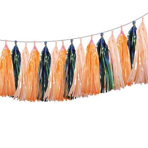 30 Unids Rainbow Borla Garland Banners Banderas DIY Bautizo de Halloween Decoración de La Boda Cumpleaños Iridescent Party Supplies Decoración