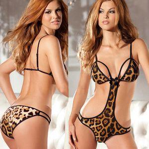 Wholesale New Leopard underwear Women's Hot Sexy Underwear Sexy Lingerie Ladies Transparent Conjoined Suit Sex Toys