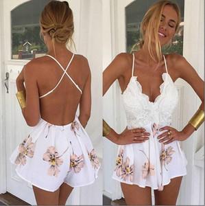 2016 여름 레이스 Rompers 여자 점프 슈트 새로운 패션 복고풍 V 목 꽃 프린트 장착 된 점프 슈트 짧은 오버올 바디 수트