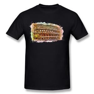 Homem especial 100% Algodão Roma Coliseu T Shirt Homem Crewneck Cinza T-Shirt de Manga Curta 5XL Casual Camiseta