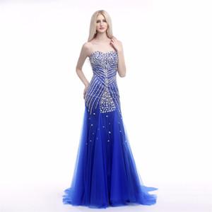 Kraliyet Mavi Mermaid Gelinlik Modelleri Uzun 2018 Mütevazı Robe De Bal Sevgiliye Boncuklu Tül Örgün Akşam Elbise Kat Uzunluk Parti