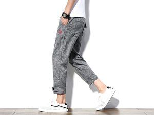Adam Pamuk Keten Pantolon Erkek Jogging Yapan Ayak Bileği Uzunlukta Pantolon erkek Yaz Rahat Desen Nakış Kadınlar için Hip Hop Pantolon Baskı Yeni Sıcak Satış