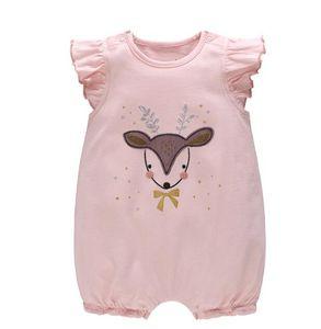 INS hot styles New summer baby kids Abbigliamento pagliaccetto Deer Cat Coniglio design manica corta ragazza Romper Elegante pagliaccetto estivo 0-2T