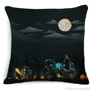 2018 Halloween festival Scary Cartoon creative Skull fearful printed pillow Home Sofa cushion linen cover comfortable cushion cover 45*45cm