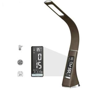 Lampe de bureau en cuir moderne de bureau LED obscurcissant la lampe de table de contact avec l'affichage d'affichage à cristaux liquides de réveil / calendrier pour le cadeau d'affaires