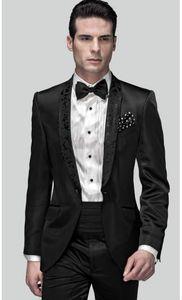 High Quality One Button Black Groom Tuxedos Groomsmen Shawl Lapel Best Man Blazer Mens Wedding Suits (Jacket+Pants+Tie) H:758
