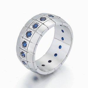 Monili del regalo giorno di Pasqua Zircon Moda ManWoman l'oro bianco 18K partito di rame placcato Blu Wedding Ring Size 8-15