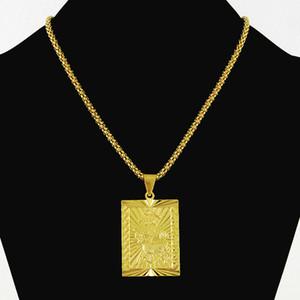 Hiphop Jóias Moda masculina do Menino 24 K Colar de Pingentes Quadrados da Cor do Ouro Puro Colares de Chapeamento De Ouro Do Vintage Cadeia de Pipoca