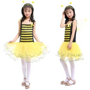 Niñas Little Bee Siling Dress Falda Tutu de Patchwork Amarillo con Yellow Wing + Diadema Princesa Trajes de Vestir Ropa de Cosplay para Niños