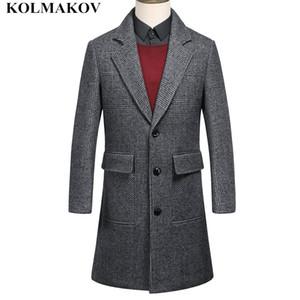 NEW Style Fashion Woolen Coats Men 2018 Men's Long Trench Coat Autumn Winter Business Wool  Mens Jackets Skinny M-3XL