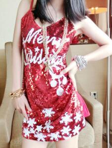 Merry Christmas Kırmızı Elbise Kadınlar Partisi Resmi Payetli Spagetti Kayışı Kulübü Abiye