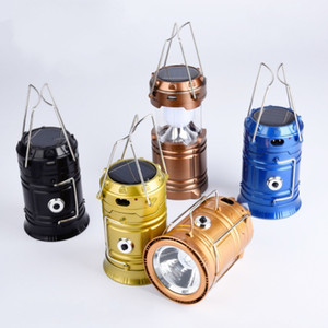 الطاقة الشمسية الصمام الخفيفة USB شحن تلسكوبي التخييم فانوس الفولاذ المقاوم للصدأ التعامل مع خيمة مصباح الطوارئ المحمولة شعبي 9 2ql ب