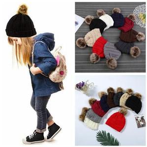 Enfants Adultes Fourrure Pom Bonnets Avec Doublure Chapeaux À La Mode D'hiver Tricoté De Luxe Câble Slouchy Crâne Chapeaux Loisirs Bonnets CCA 20pcs