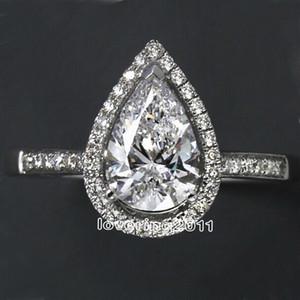 Choucong Forma de corte de pera 5A Circón Cz 925 Anillo de bodas de compromiso de plata esterlina Sz 5-11 Envío gratis regalo S18101607