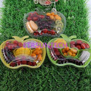 6 сетки одноразовые пластиковые чаши овощной фрукты пищевой контейнер ящик для хранения с крышками упаковка коробка 3 цвета QW7872