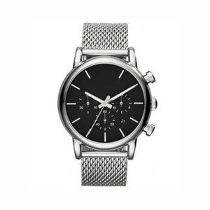Hombres Plata Correa de malla de acero inoxidable Cronógrafo Reloj 1811 Reloj de lujo Negro Dail