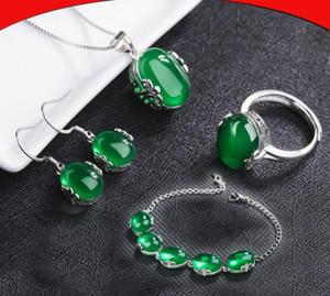Ruby Ring Red Corundum Collier Plaqué s925 Bijoux En Argent Sterling Boucles D'oreilles Pendentif Femmes Premium
