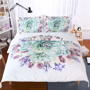 Зеленый суккуленты 3D постельные принадлежности цветочный завод печатных пододеяльник наволочка 3 шт. цветочные кровати обложка Твин полный королева король размер постельного белья