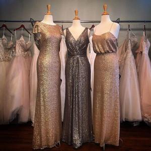 Onur Elbise Ucuz Rose Gold Pullarda Gelinlik Modelleri Country Style Navy Blue Beach Karışık Siparişler Genç Düğün Misafir Önlük Hizmetçi