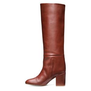 2018 novas botas de moda dedo apontado chucky saltos deslizamento em botas de inverno de couro macio mulheres sapatos Coxa-Alta botas botas