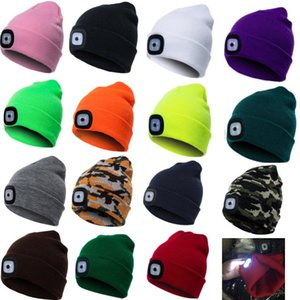 LED Beanies Cap Hat 17 Colors Knitted Warm Headlamp Hooded Skull Beanies Cap Hiking Camping Running Beanies Xmas Party Hats HH7-1831
