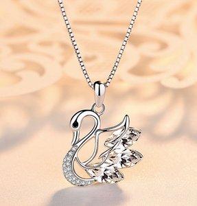Sterling Silver Swan Pingente de Colar Medalhão de Prata Cadeia Natureza Ametista Swan Charme Pingente de Presente Da Jóia para a Namorada