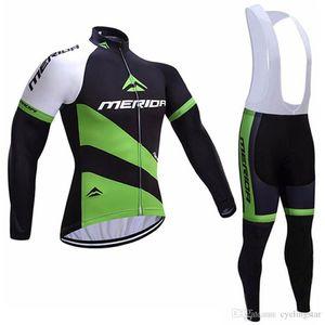 Pro team Merida bisiklet forması 2017 Tam fermuar bisiklet giyim ropa ciclismo Coolmax JEL Pad uzun kollu bisiklet forması önlüğü / pantolon set B1609