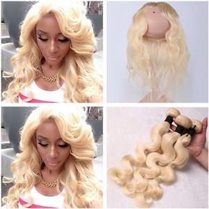 # 613 Rubia 360 encaje frontal Cierre Pre Arrancado con tejidos 3Pcs Body Wave Blonde Virgen Peruana Paquetes de cabello humano con 360 Frontal