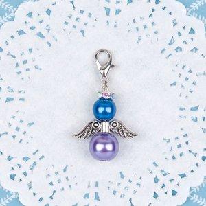DoreenBeads Guardian Angel Wing Clip Vintage Charm Pulseras Antique Silver Deep Blue Purple Glass Pearl Imitación 41 * 23mm, 8Pcs