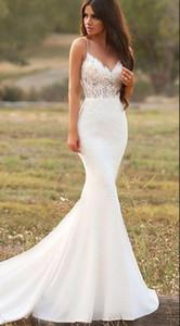 Sirena sexy Bianco abiti da sposa senza spalline in pizzo raso Tromba Garden Abiti Country Style Abiti da sposa a mano Vestidos De Noiva