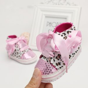 Newborn Baby Girl Shoes Sequin Leopard Lace-Up Non-Slip Sparkly Sneaker Shoes 0-18Months 3 Color Available 0-18M