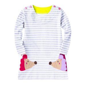 Größe 2-7 Jahre Baby Mädchen Kleid Mädchen Langarm Kleider Kinder Prinzessin Kinder Bluse Cat Rabbit Striped T-Shirt