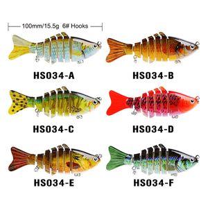 현실적인 인공 플라스틱 3D 물고기 7 세그먼트 낚시 미끼 10cm 15.5g Wobbler 수영 Lipless 레이저 미끈 미끼 미끼