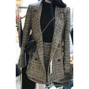 2Pcs/set Women's Plaid Suit Lapel OL Blazer Houndstooth Jacket Coat + High Waist A-line Skirt Leisure Checked Skirt Casual Suit