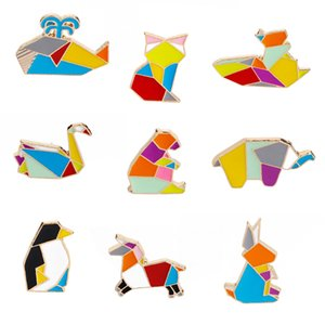 Cute Origami Animal Hard Enamel Pins Elephant Rabbit Bunny Bear Squirrel Whale Horse Penguin Fox Design Brooches Lapel Pin