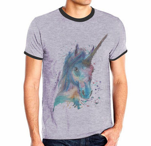 Lässige T-Shirts für Männer Pferd Skull Lion Funny Print Grau T-Shirts Rundhalsausschnitt Sommermode Design Tops