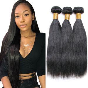 Straight pelo humano de la Virgen de lotes 3Pcs / Lot 100% a granel brasileño sin procesar del pelo brasileño virginal mechones de cabello humano para la venta al por mayor